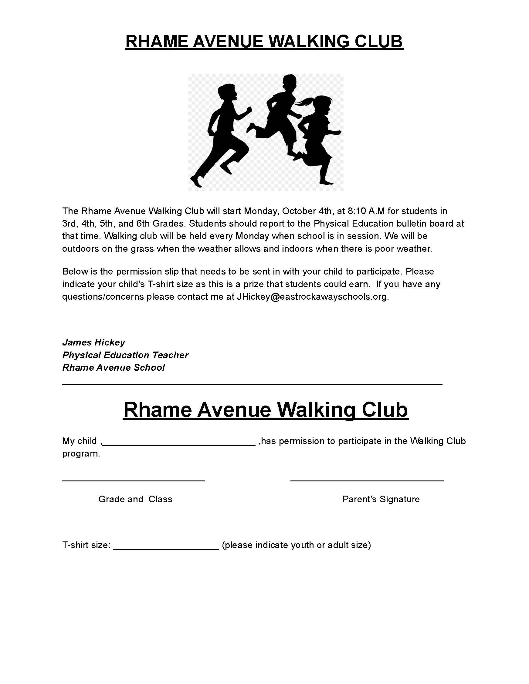 walking club signup