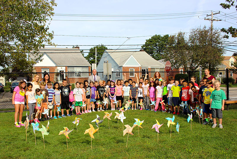 Rhame Students Plant Pinwheels for Peace